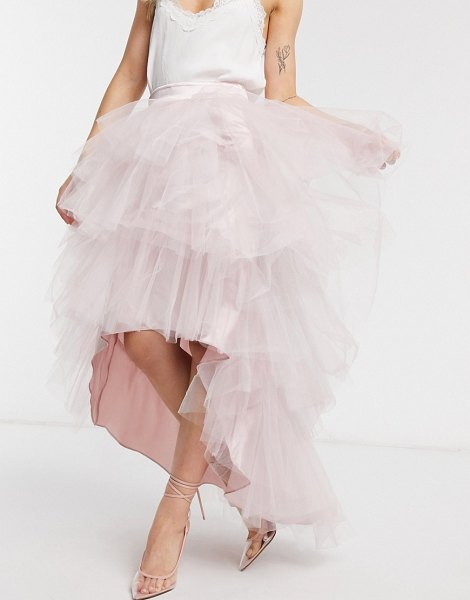 Chi Chi London tiered skirt in mink-pink in pink