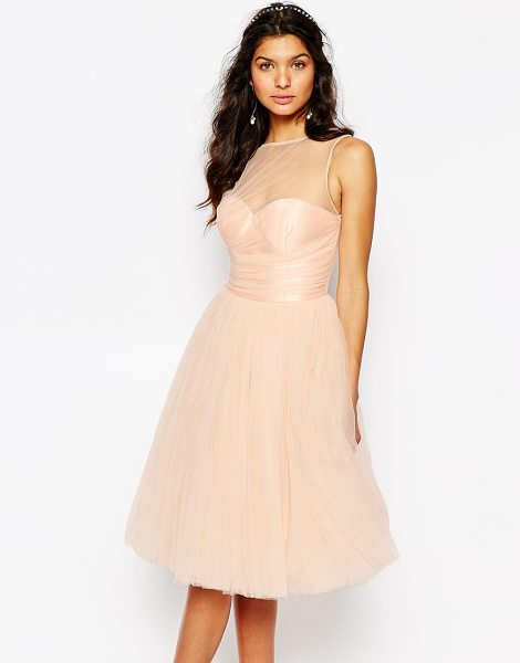 Chi Chi London Glitter Tulle Midi Dress with Pleated Bust in pink - Midi dress by Chi Chi London, Glitter-embellished tulle,...