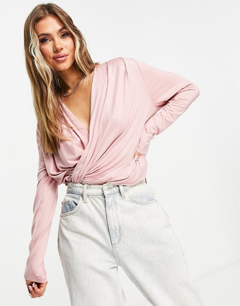 Chi Chi London wrap lounge top in pink in pink