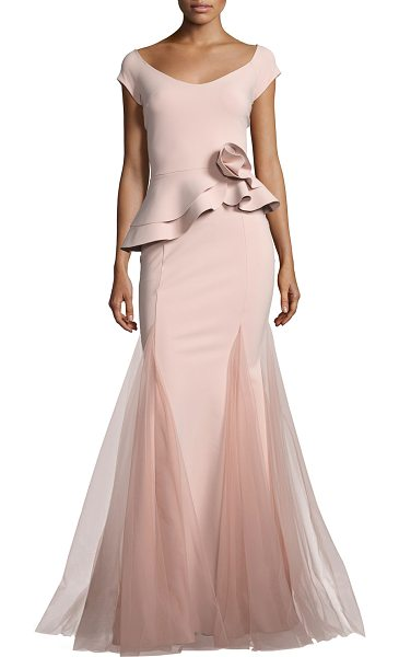 Chiara Boni La Petite Robe Lady Cap-Sleeve Peplum Mermaid Gown in pale rose - EXCLUSIVELY AT NEIMAN MARCUS La Petite Robe di Chiara...