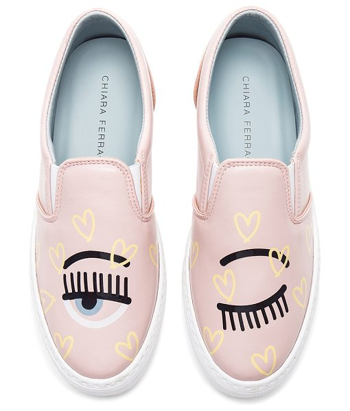Chiara Ferragni Candy Flirting Slip On in pink - Leather upper with rubber sole. Slip-on styling. Patent...