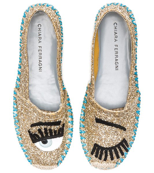 Chiara Ferragni Contrast stitching espadrille in metallic gold - Glittered leather upper with leather sole. Slip-on...