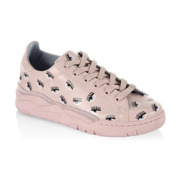 7ea3b8536cf6 Chiara Ferragni eye leather sneakers in pink - Round toe sneakers with an  allover print design