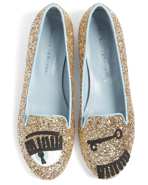 Chiara Ferragni flirting flat in gold - Fun, flirty, feminine and fabulous: This insouciant...