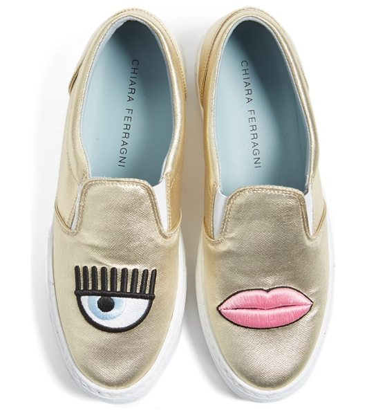 Chiara Ferragni flirting lips slip-on sneaker in gold - Add some levity to your laid-back looks with fabulously...