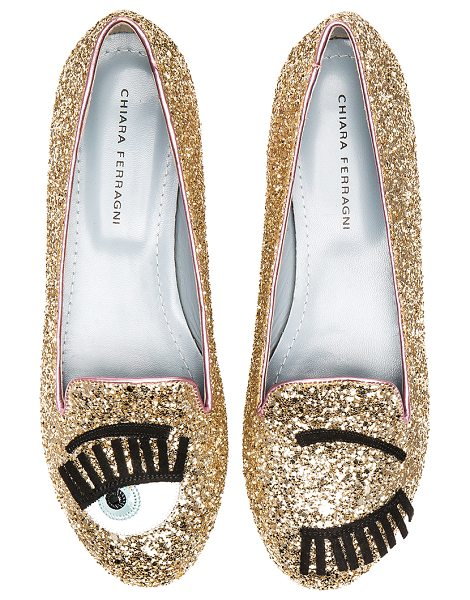 Chiara Ferragni Flirting sleeper loafer in metallic gold - Glittered leather upper with leather and rubber sole....