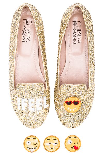 Chiara Ferragni I feel flat in metallic gold - Glittered leather upper with leather and rubber sole....