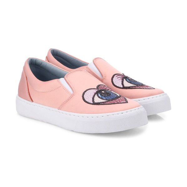 Chiara Ferragni satin heart-eye skate sneakers in pink - Luxe satin skate sneaker with sequined heart-eye motif....