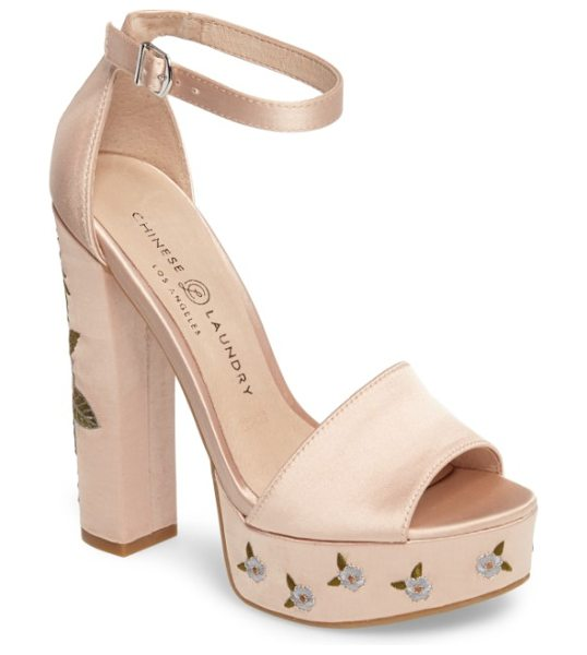 Chinese Laundry amy flower embroidered platform pump in now nude - Delicate floral embroidery pretties up the chunky...