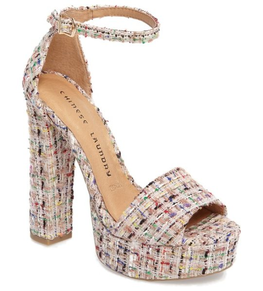 Chinese Laundry avenue platform sandal in pink - A chunky platform sandal wrapped in ladylike tweed adds...