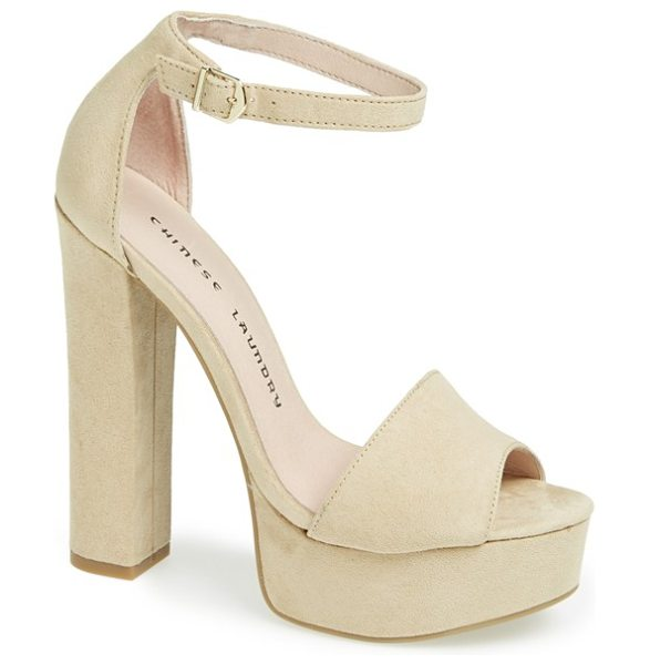 Chinese Laundry 'avenue' sandal in beige - An attention-grabbing platform sandal elevates retro...