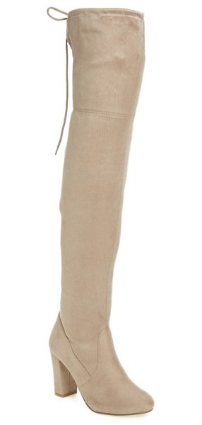 CHINESE LAUNDRY brinna over the knee boot - This sleek block-heeled boot climbs up the leg and ties...