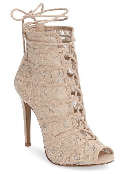 Chinese Laundry jingle wraparound peep toe bootie in nude - Slender lacing ascends the front and ties off at the...
