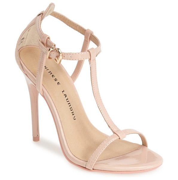 Chinese Laundry leo patent t-strap sandal in soft pink - This modern sandal set on a sultry stiletto heel will...