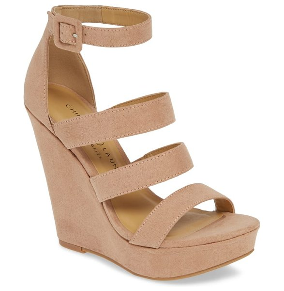 Chinese Laundry maneeya wedge sandal in beige - A lofty wedge heel adds contemporary drama to this...