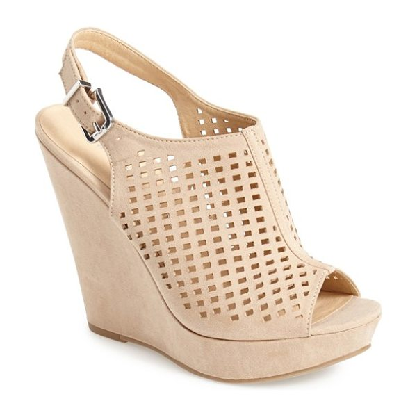 Chinese Laundry meet up slingback wedge peep toe sandal in sand - Downtown edge meets uptown chic in this perforated...