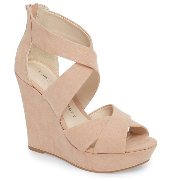 Chinese Laundry milani platform wedge sandal in beige - Shapely cross straps wrap the upper of a breezy sandal...