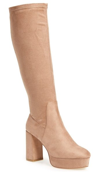 Chinese Laundry nancy knee high platform boot in mink suedette - A stretchy sueded shaft adds contour-hugging shape to...