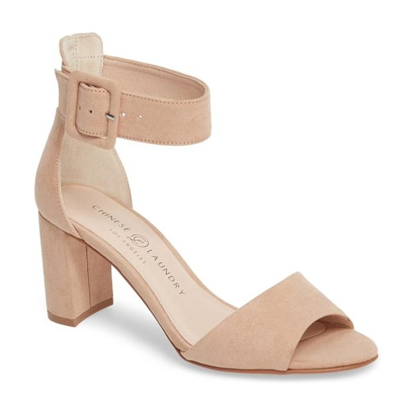 Chinese Laundry rumor sandal in beige - A belted ankle strap secures a peep-toe sandal lifted by...
