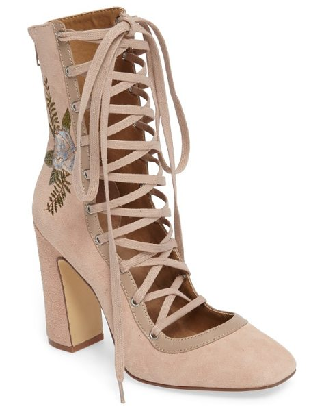 Chinese Laundry sylvia lace-up bootie in blush suede - Corset-inspired lacing and floral embroidery further the...