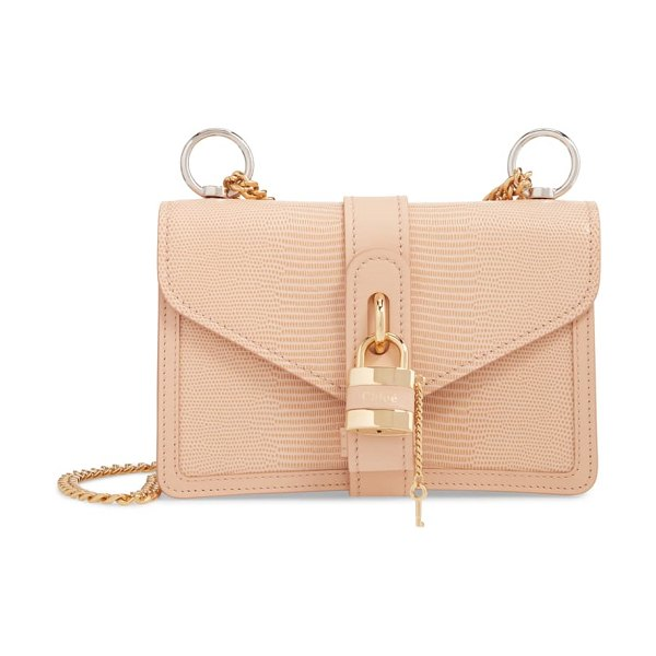Chloe aby chain reptile embossed calfskin leather shoulder bag in pink (nordstrom exclusive)