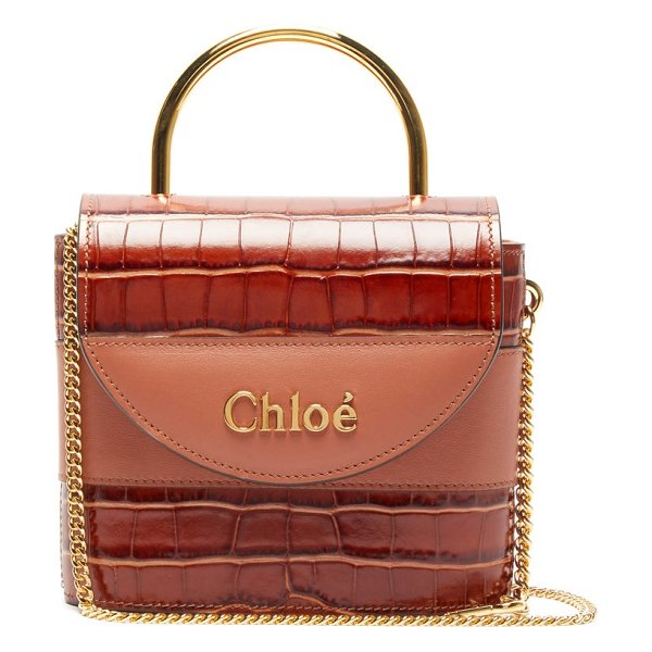 Chloe aby lock crocodile-effect leather cross-body bag in brown