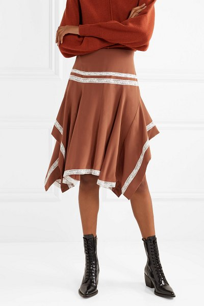 Chloe asymmetric lace-trimmed silk-satin skirt in camel