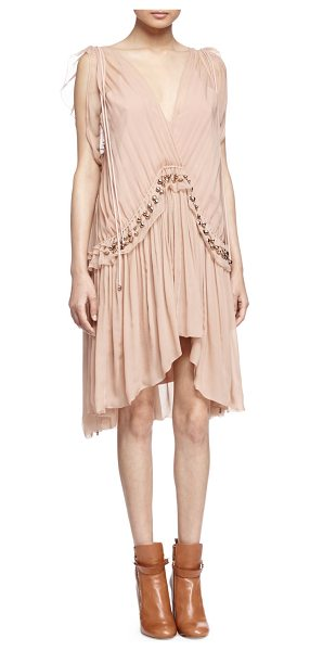 CHLOE Beaded Grecian Crepe Dress - Chloe Grecian-style dress, draped and layered in crepe....