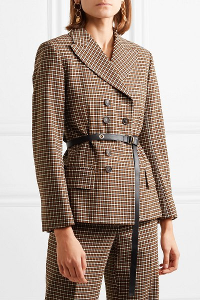 Chloe belted double-breasted checked woven blazer in brown