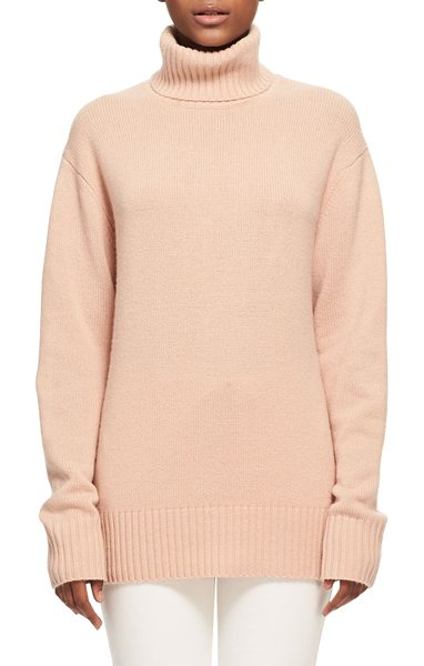 Chloe Bicolor Iconic Cashmere Turtleneck Sweater in light pink - Chlo iconic sweater in bicolor knit. Contrast-ribbed...