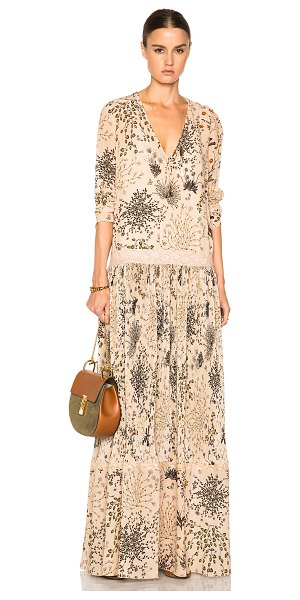 Chloe Botanical herb print dress in floral,neutrals - 100% silk.  Made in France.  Fully lined.  Pleated...