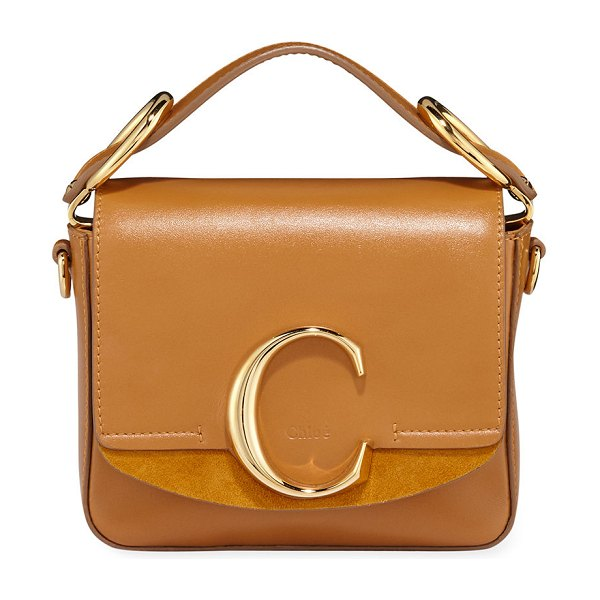Chloe C Mini Shiny Leather Shoulder Bag in autumnal brown
