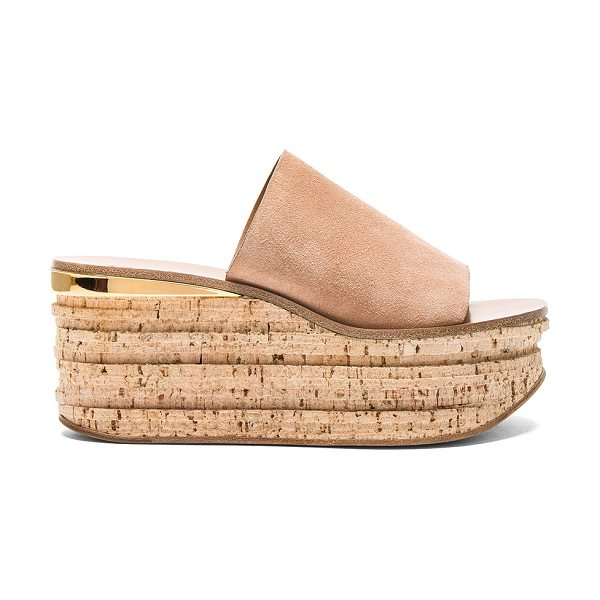 Chloe Camille Suede Wedge Sandals in nude - Suede upper with leather sole.  Made in Italy.  Approx...