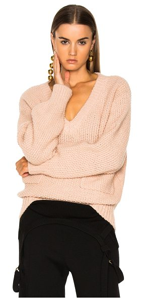 Chloe Chunky Stitch V-Neck Sweater in pink - 45% acetate 40% alpaca 15% wool.  Made in Italy.  Dry...