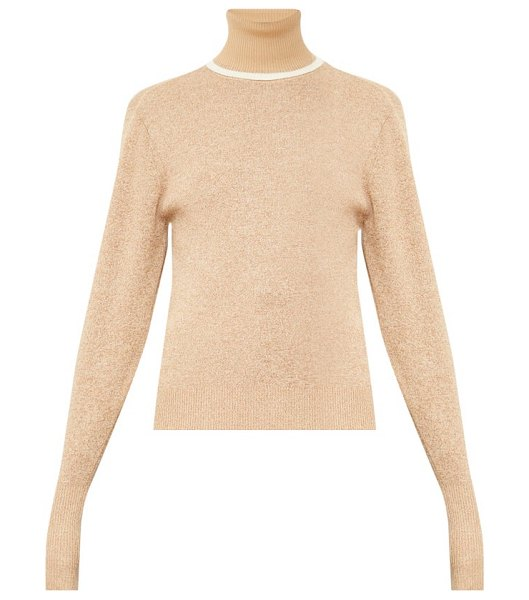 Chloe contrasting wool-blend roll-neck sweater in beige