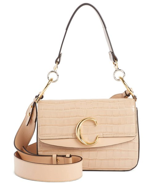 Chloe croc embossed leather shoulder bag in beige - A gleaming oversized C at the pieced flap brings bold...