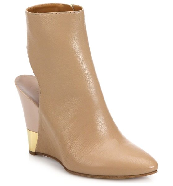 Chloe Cutout-heel leather wedge booties in mediumpink - Metal trim highlights the modern-luxe minimalism of...