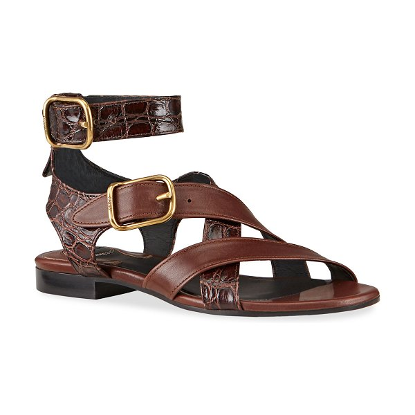 Chloe Daisy Mixed Leather Strappy Sandals in tan
