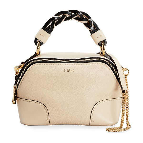 Chloe Daria Mini Dual Zip Chain Satchel Bag in 24q sweet beige