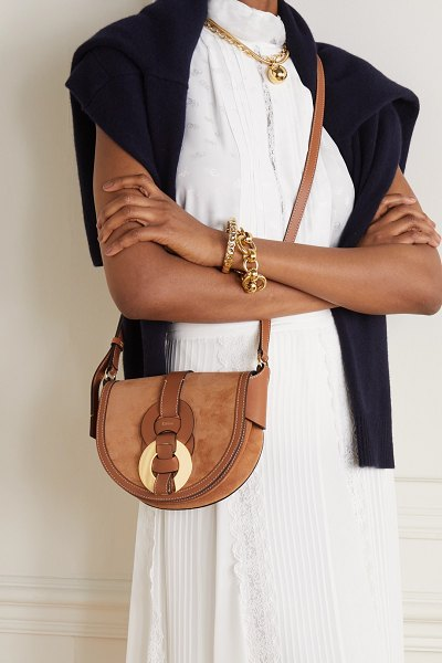 Chloe darryl small leather and suede shoulder bag in brown