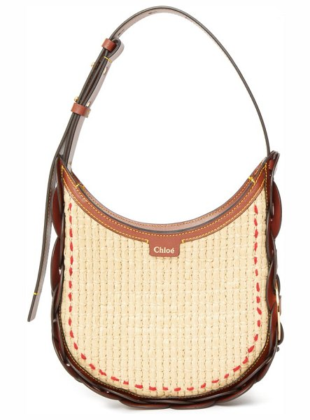 Chloe darryl small raffia and leather shoulder bag in brown