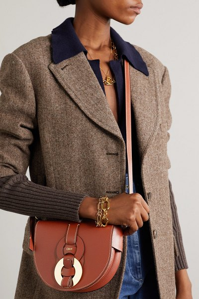 Chloe darryl small textured-leather shoulder bag in brown