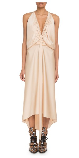 Chloe Deep-V Sleeveless Ruched Crepe Back Satin Cocktail Dress in brown
