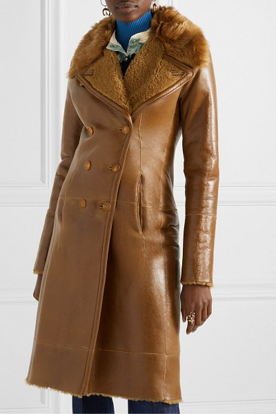 Chloe double-breasted glossed-shearling coat in brown