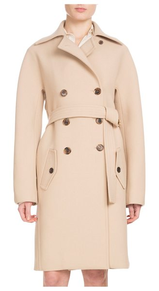 "Chloe Double-Breasted Wool Crepe Coat in camel - Chloe double-face wool crepe coat. Approx. length: 38""L..."