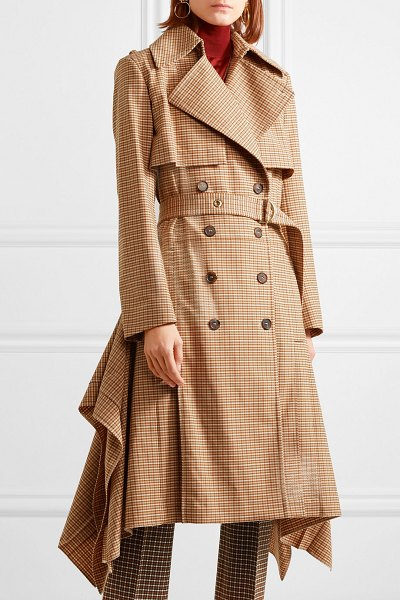 Chloe draped checked woven trench coat in brown