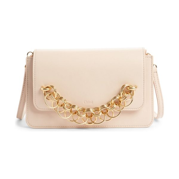 Chloe drew bijoux leather crossbody bag in cement pink - A gleaming chain-link bracelet brings opulent dimension...