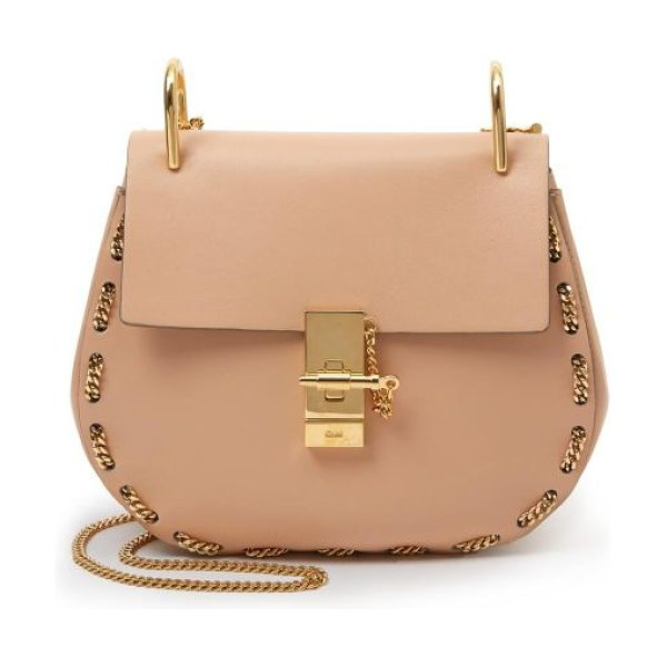 Chloe Drew chain-trim mini shoulder bag in blush - The ever-chic saddle bag with a contemporary twist,...