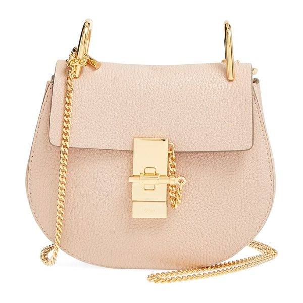 CHLOE 'mini drew' leather shoulder bag in cement pink - Chloe's newest take on the saddle bag is the epitome of...