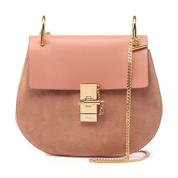 Chloe Drew Leather & Suede Shoulder Bag in rose